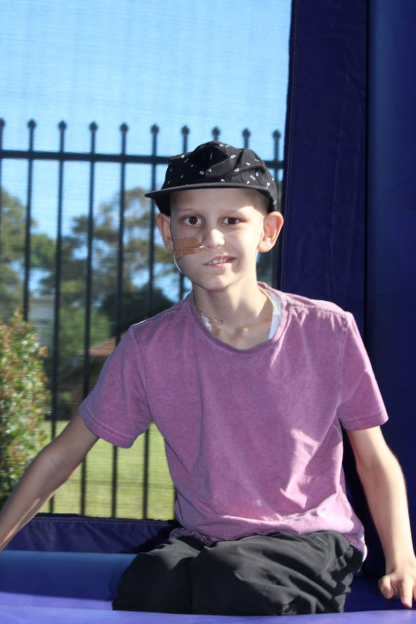 Caleb's face was paralysed on the right-hand side after an operation to remove a brain tumour.
