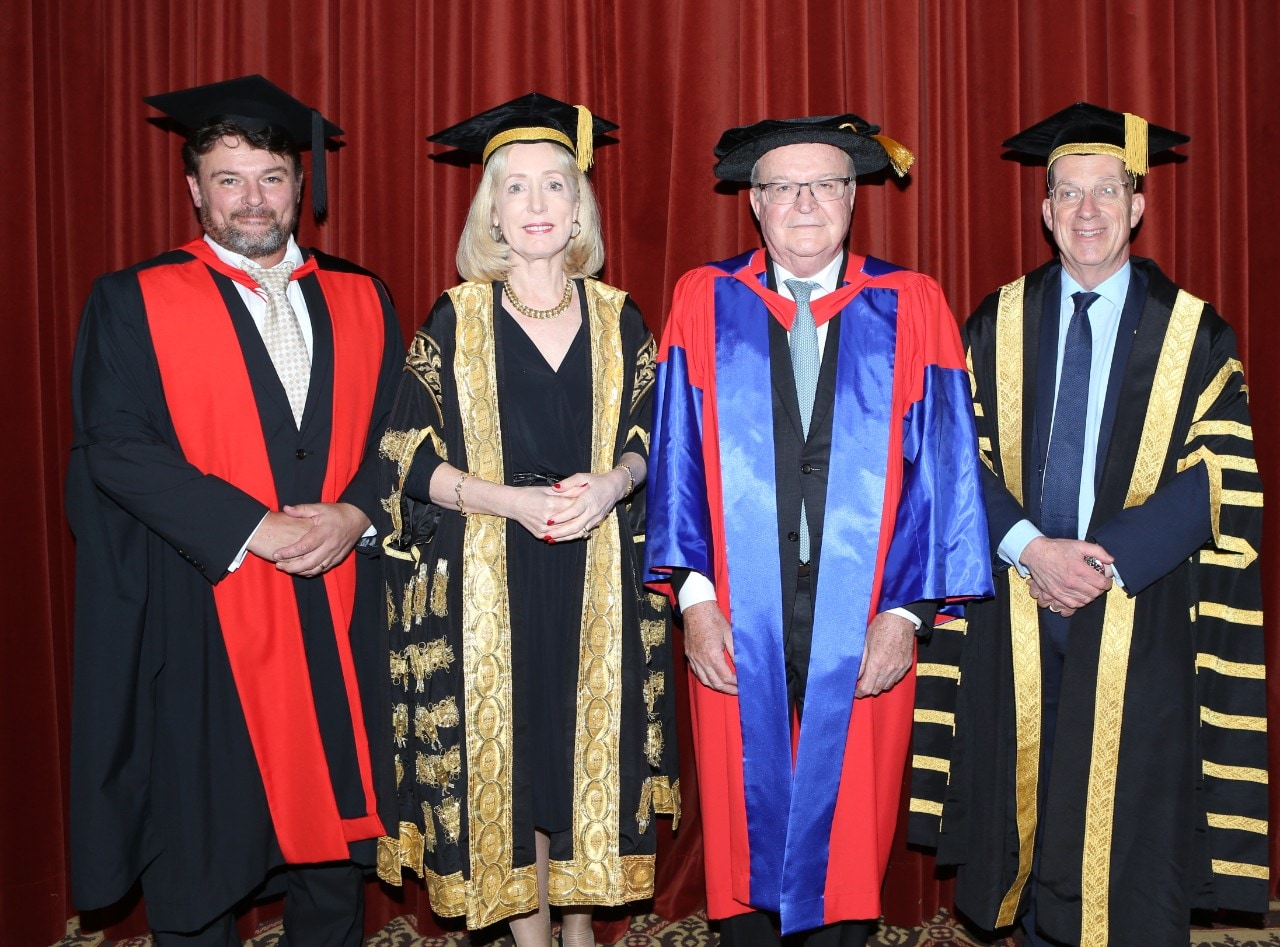 Acting Dean of the University of Sydney Law School Professor Cameron Stewart, Chief Justice Bathurst, Chancellor Belinda Hutchinson and Vice-Chancellor and Principal Dr Michael Spence. Credit: Ambassador Productions