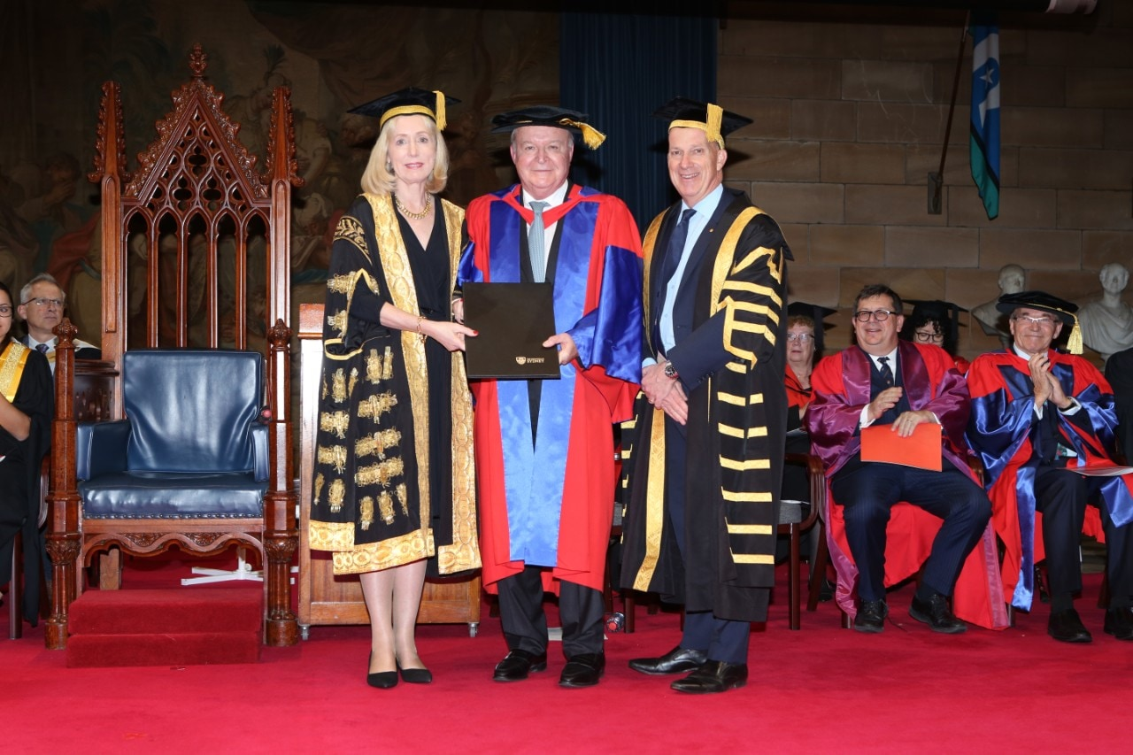 Chief Justice Bathurst (centre) with University of Sydney Chancellor Belinda Hutchinson and Vice-Chancellor and Principal Dr Michael Spence. Credit: Ambassador Productions