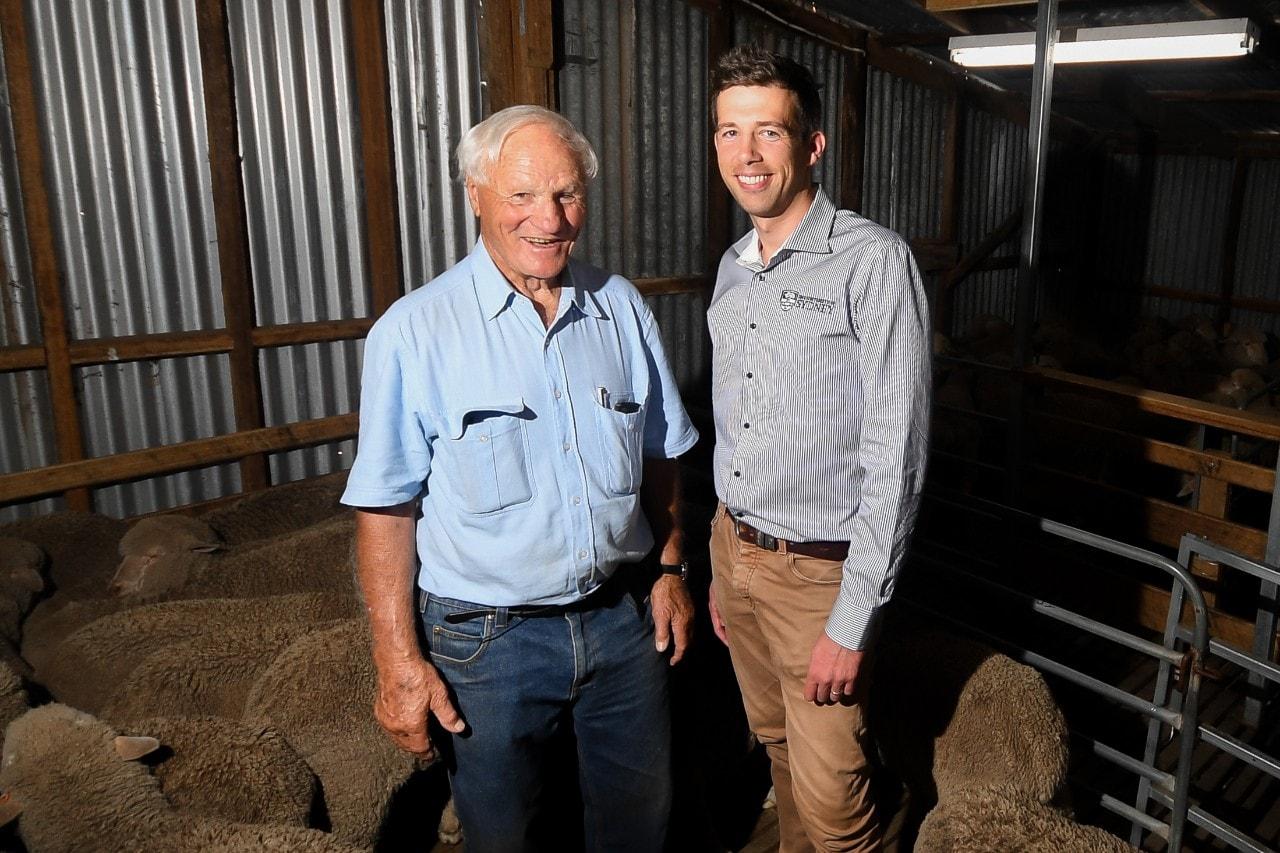 Associate Professor Simon de Graaf with Peter Walker, donor of the rams. Photo: Morgan Hancock