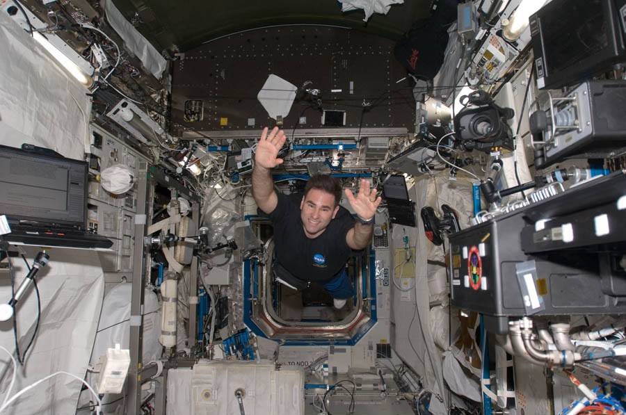 NASA astronaut and Expedition 17 flight engineer, Greg Chamitoff, floating in the Destiny laboratory of the International Space Station. Photo credit: NASA.