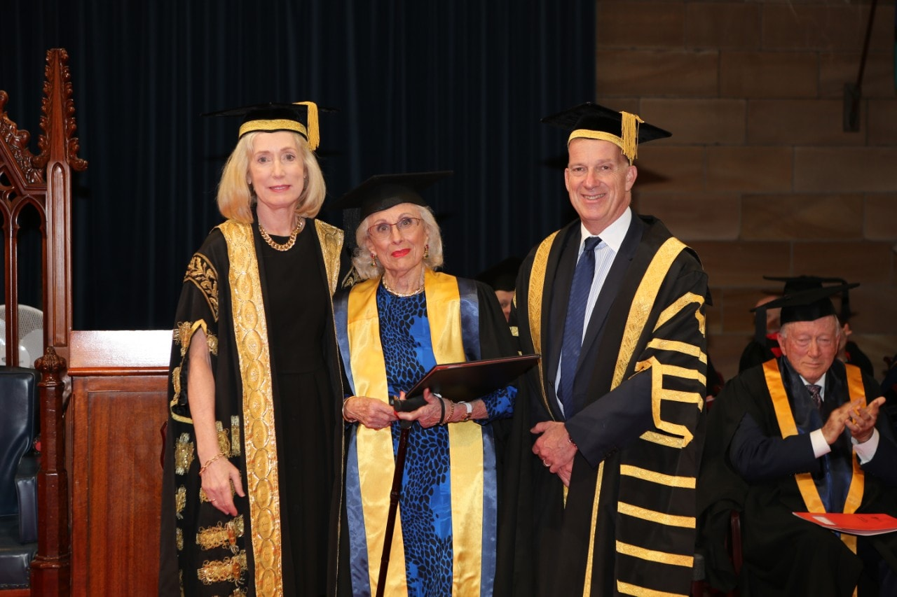 (Left-right): Chancellor of the University of Sydney Belinda Hutchinson, Lady Primrose Potter AC and Vice-Chancellor and Principal Dr Michael Spence.