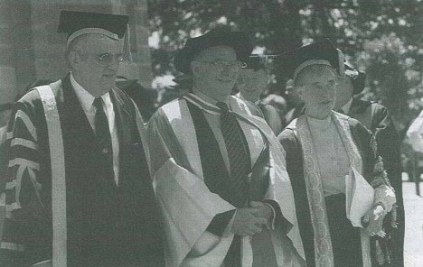 Former Vice-Chancellor Professor Gavin Brown and former Chancellor Dame Leonie Kramer award Clive James (centre) the Doctor of Letters (honoris causa). Photo: Tracey Schramm via the University of Sydney Archives.