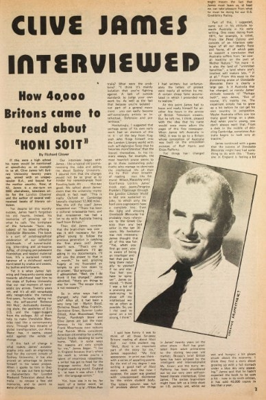 An interview with Clive James, as published in a 1981 edition of Honi Soit. Courtesy: Sydney University Library.
