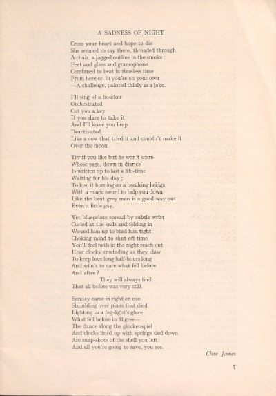 A poem written by Clive James, as published in the University of Sydney literary journal Hermes. Courtesy: Sydney University Library.