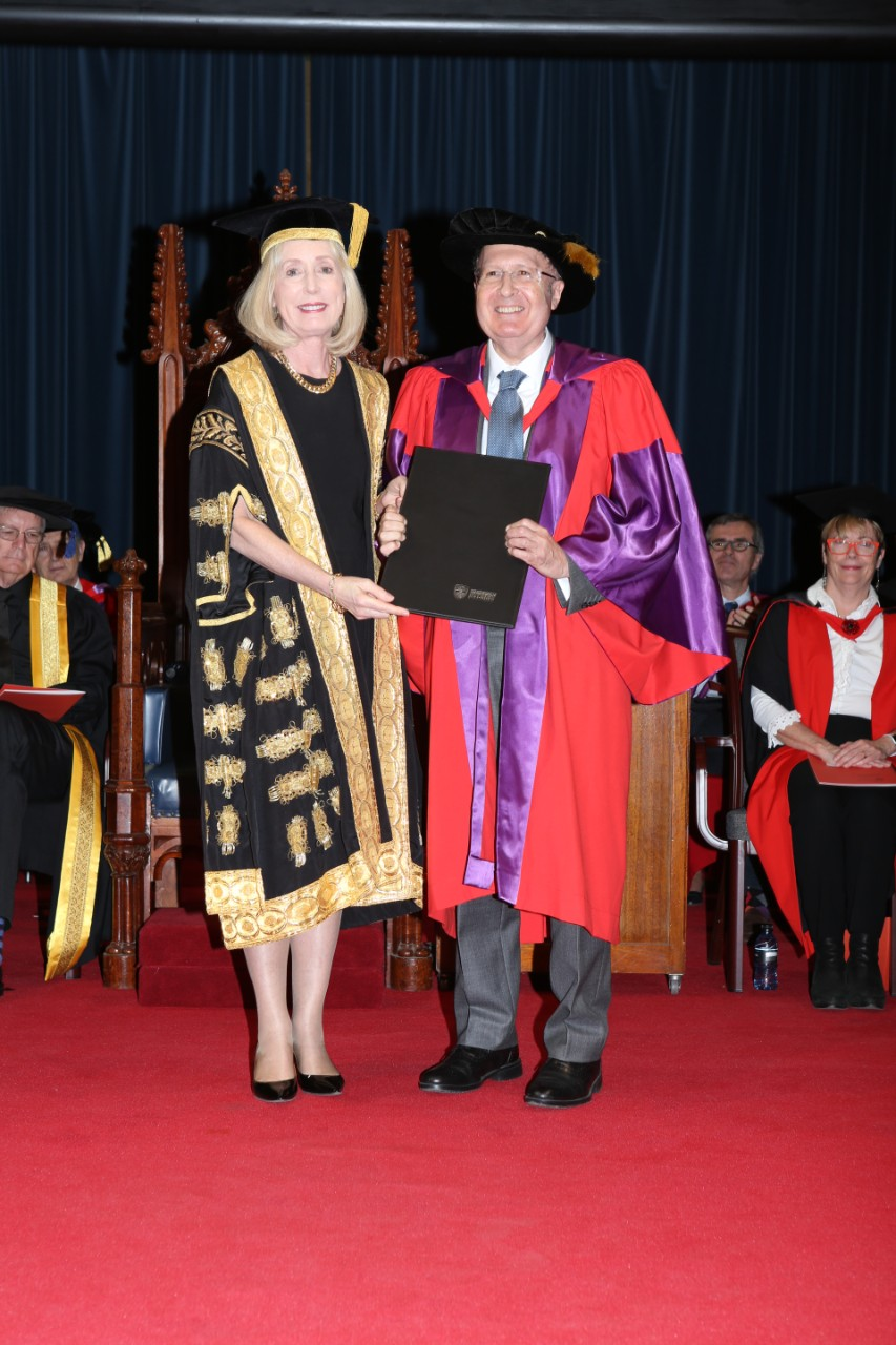 Belinda Hutchinson, Chancellor of the University of Sydney, with Nobel laureate Sir Gregory Winter.