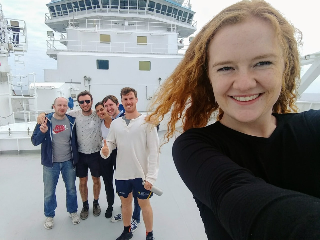 Part of the research team onboard CSIRO's RV Investigator: (left to right) Simon Williams, Ben Mather, Zsanett Szilagyi, Edward Clennett, Christopher Dagger, Quinn Anderson.