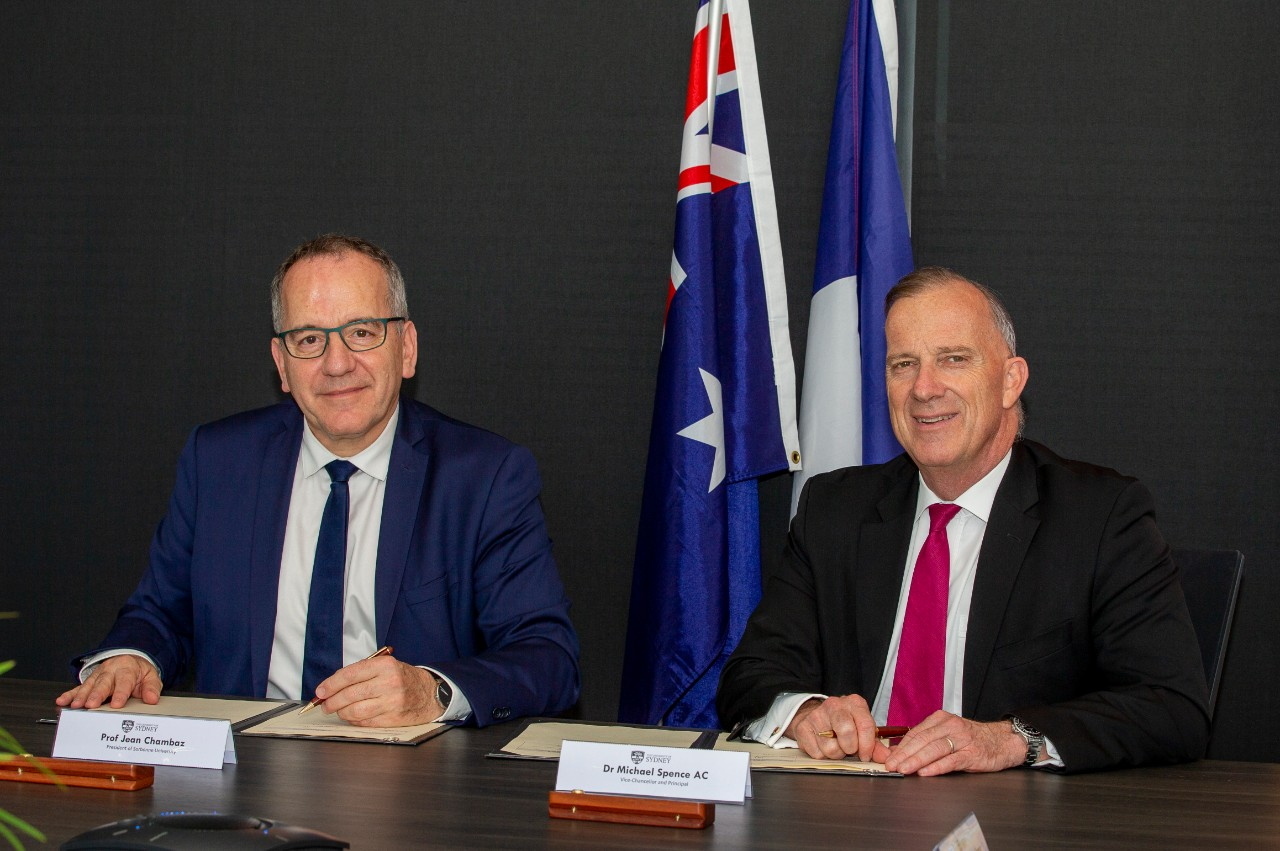 From left to right: President of Sorbonne University, Professor Jean Chambaz, University of Sydney Vice-Chancellor Dr Michael Spence