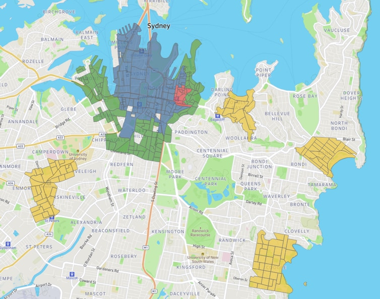 A map of Sydney, marked into precincts.