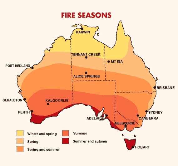 Map of bushfire seasons. Bureau of Meteorology