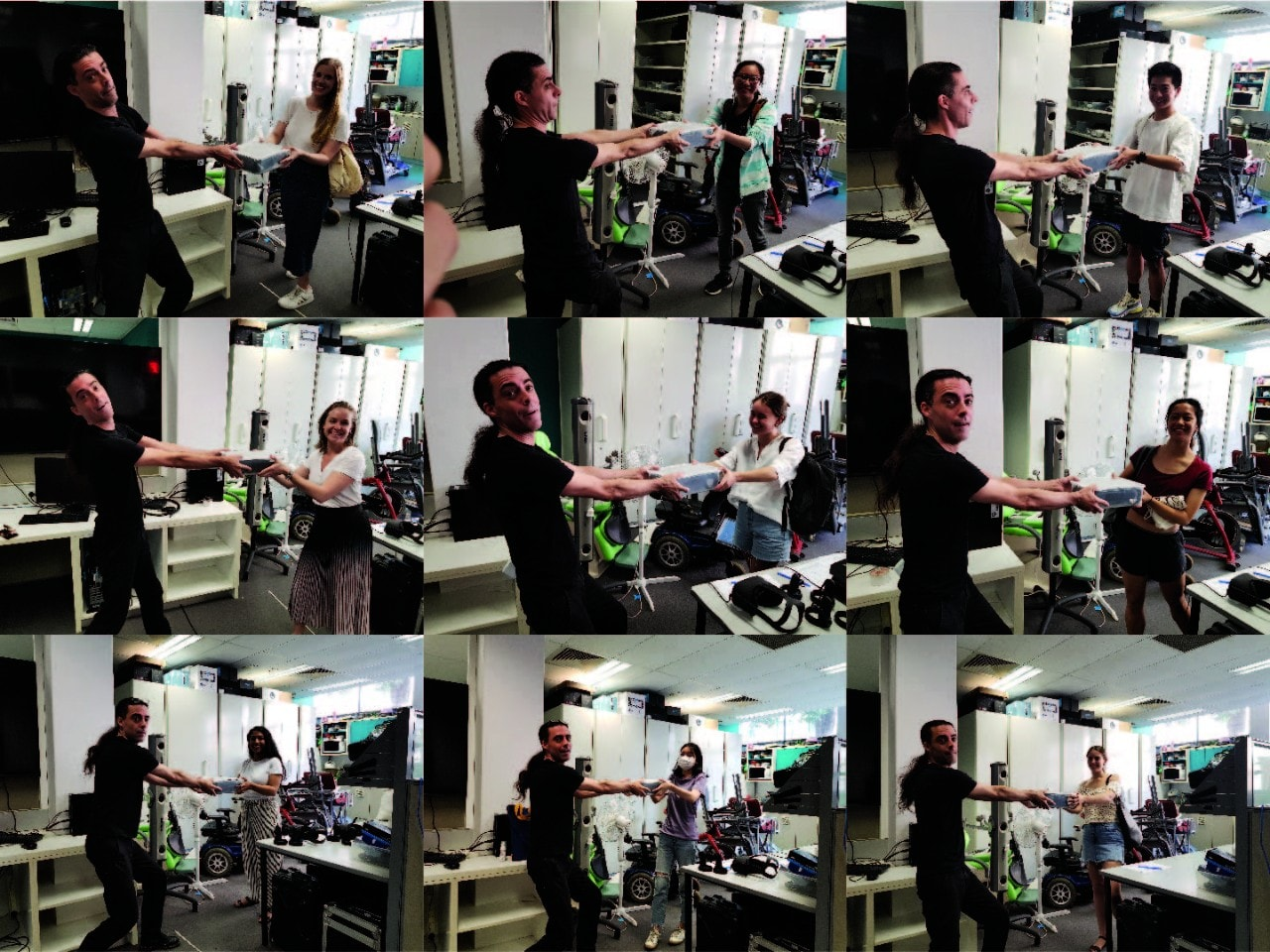 Associate Professor Hamish MacDougall hands students VR headsets, pre-COVID-19 shutdown.