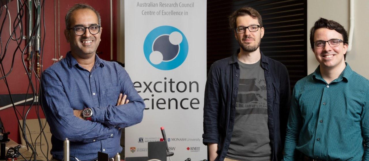 In the lab (from left): Dr Girish Lakhwani, Dr Stefano Bernardi and Dr Randy Sabatini. Photo: Stefanie Zingsheim/University of Sydney