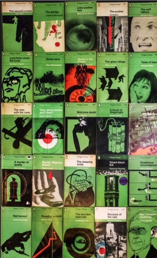 Mid-century, green-saturated Penguin crime literature paperbacks