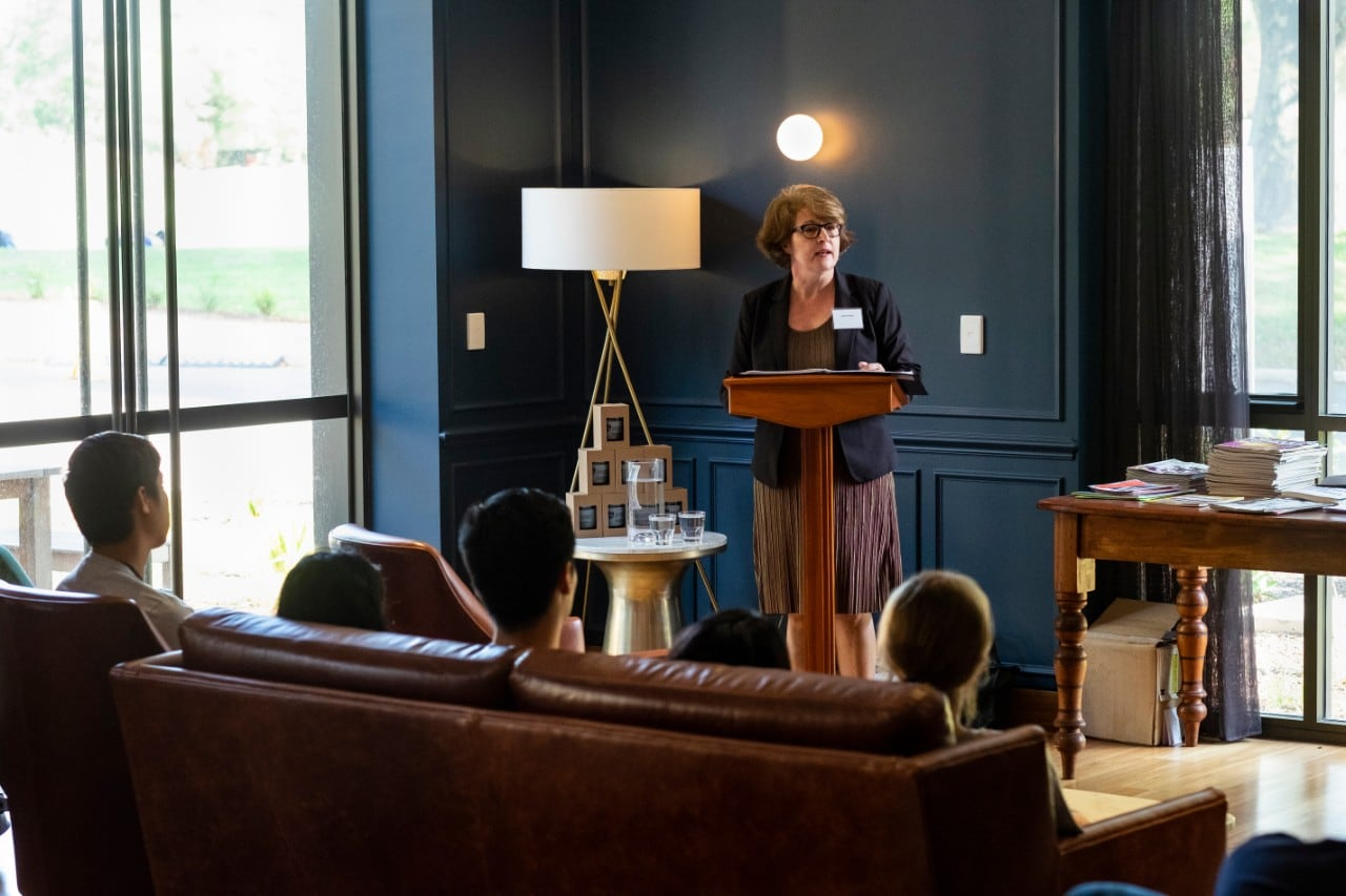 The Honourable Justice Rachel Pepper, Judge, NSW Land and Environment Court, addressed the SIP students inside St Paul's College.