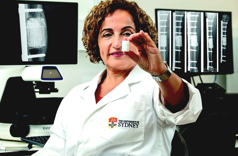 Professor Hala Zreiqat with a sample of the 3D-printed bone.