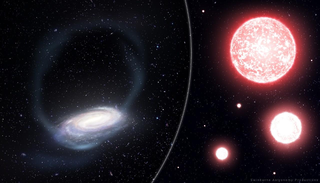 Artist's impression of the Phoenix stream of stars. Credit: James Josephides, Swinburne Astronomy,