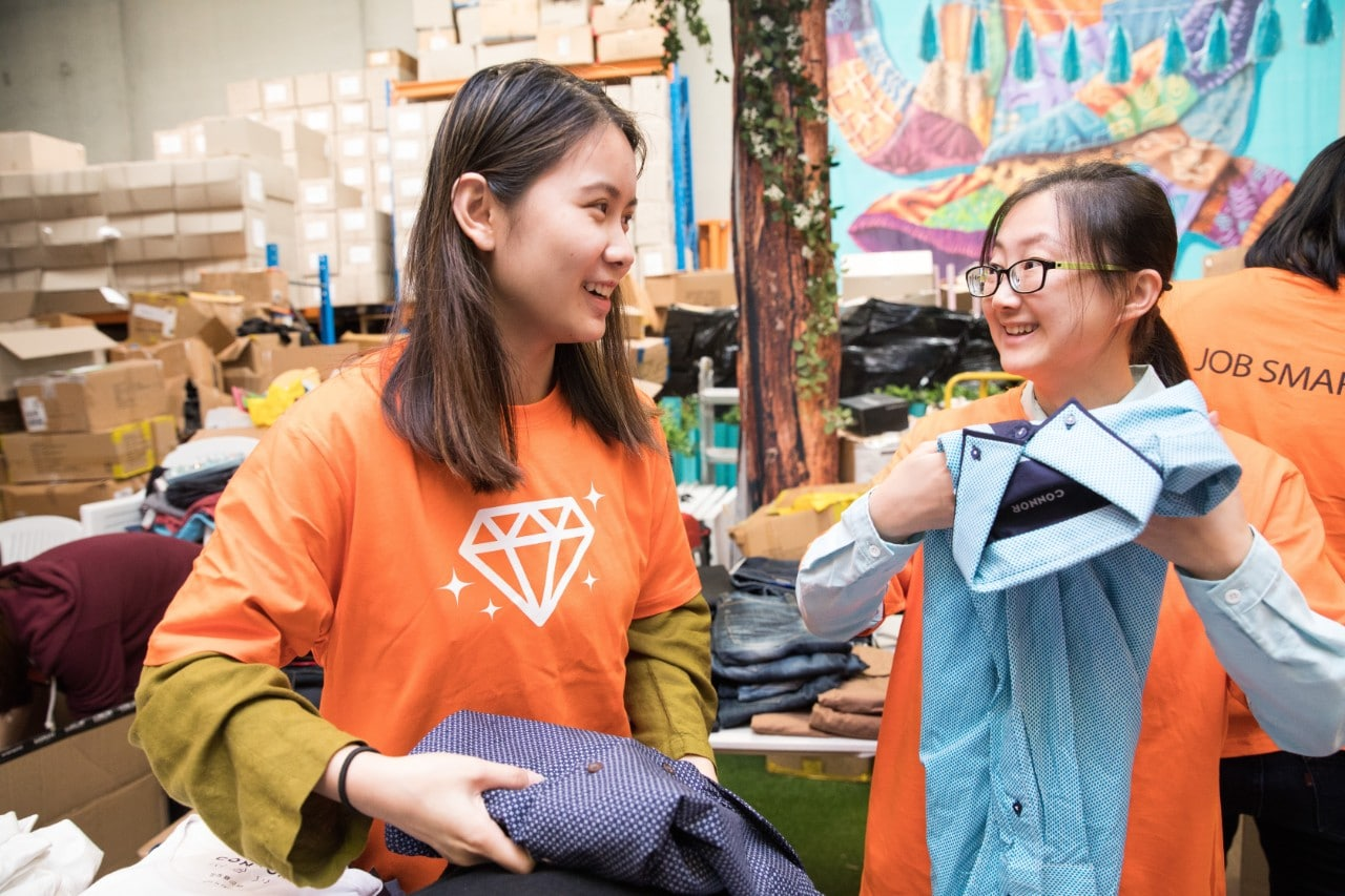 Two students at Thread Together, a not-for-profit based in in Sydney during Semester 1, 2019.