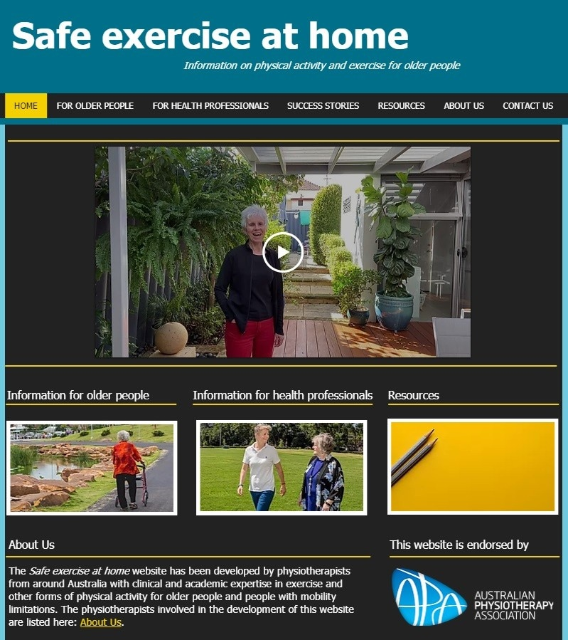 Homepage of the Safe exercise at home website, accessible at www.safexerciseathome.org.au