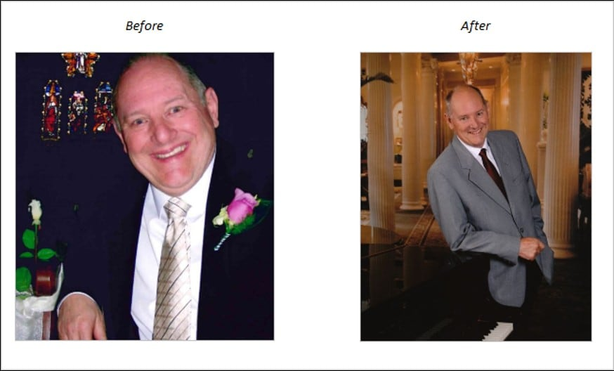 Study participant Bruce Carr, before and after.