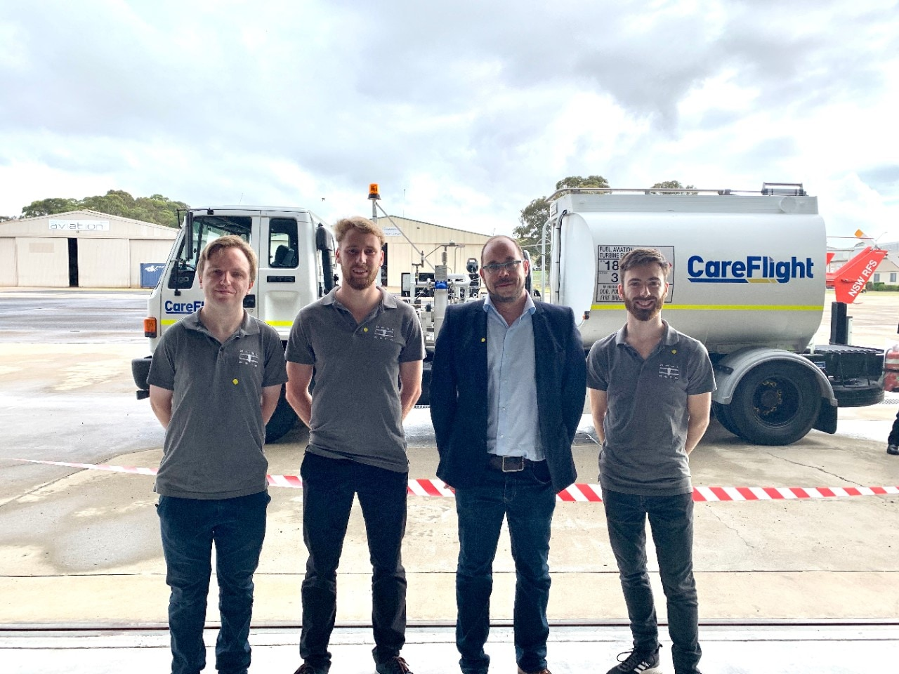 L-R: USYD graduate and AMSL Aero engineer Joshua Clement-Churn, USYD engineering student Kieran Crayn, Associate Professor Dries Verstraete, USYD graduate and AMSL Aero engineer John Wilson