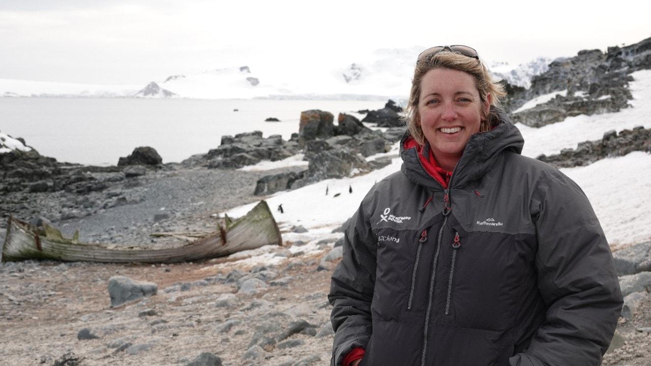 Dr Carolyn Hogg in Antarctica.