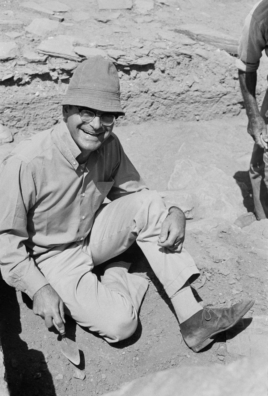 Professor Cambitoglou at the excavations of the Early Iron Age settlement of Zagora on the Greek island of Andros in 1971
