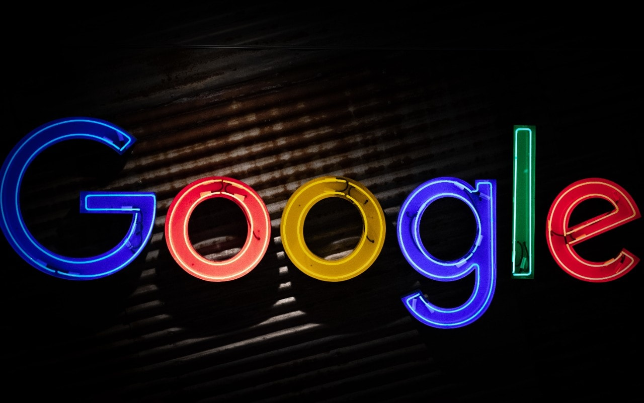 photo of the Google logo in lights