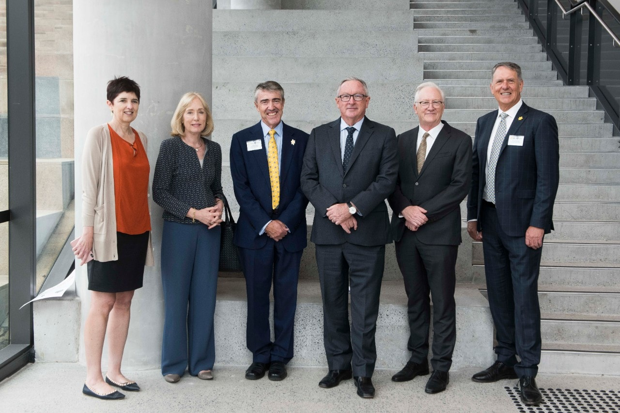 Launching The Daffodil Centre (L-R): Pro-Vice-Chancellor and Dean, Faculty of Medicine and Health Professor Robyn Ward; Chancellor Belinda Hutchinson; Cancer Council NSW Chair Mark Philips; Minister Brad Hazzard; Vice-Chancellor and Principal Professor Stephen Garton; Cancer Council NSW CEO Jeff Mitchell; at the University of Sydney today.