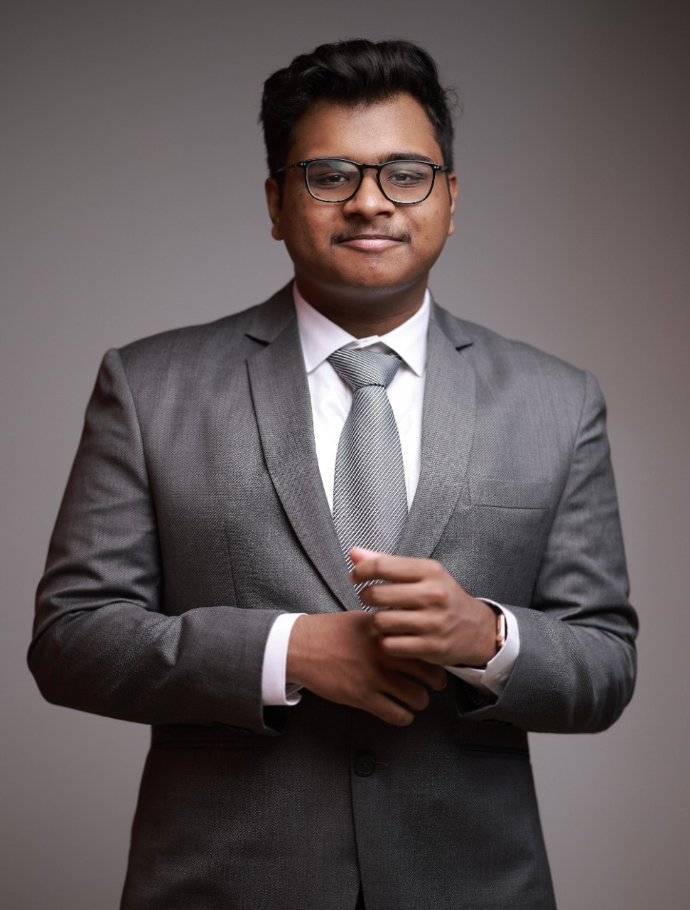 Young man wearing suit