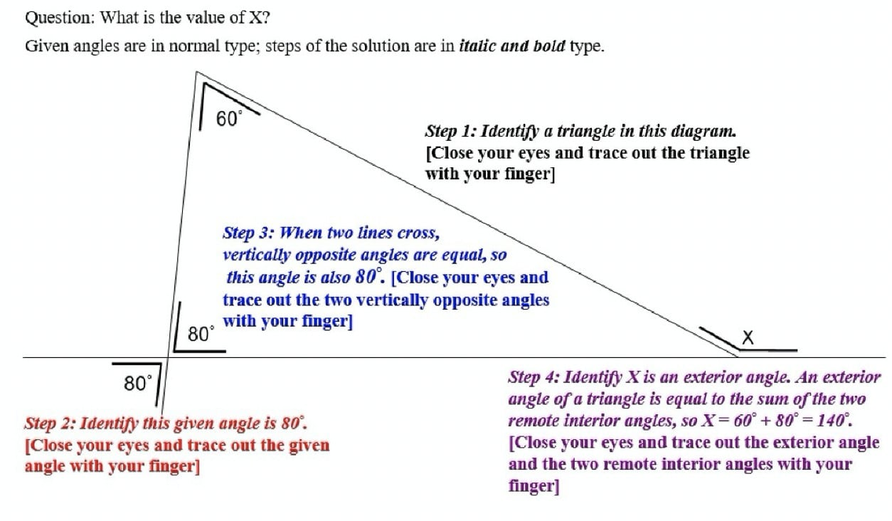 A sample question instructing people to trace a triangle