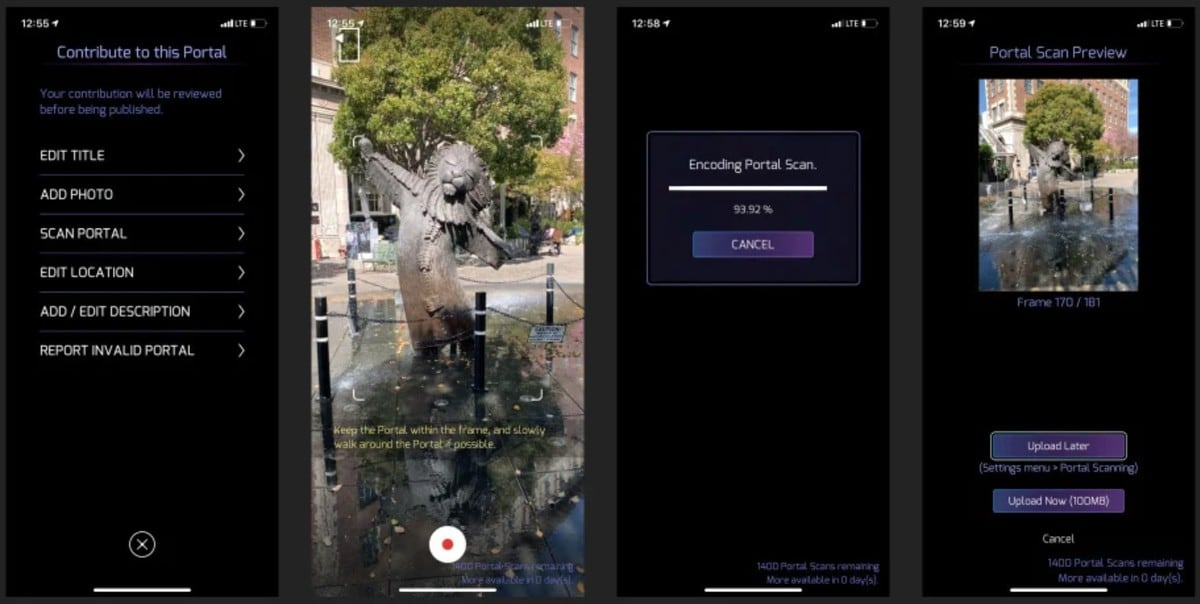 Screenshots of the Ingress Portal Scan Feature, via Niantic.