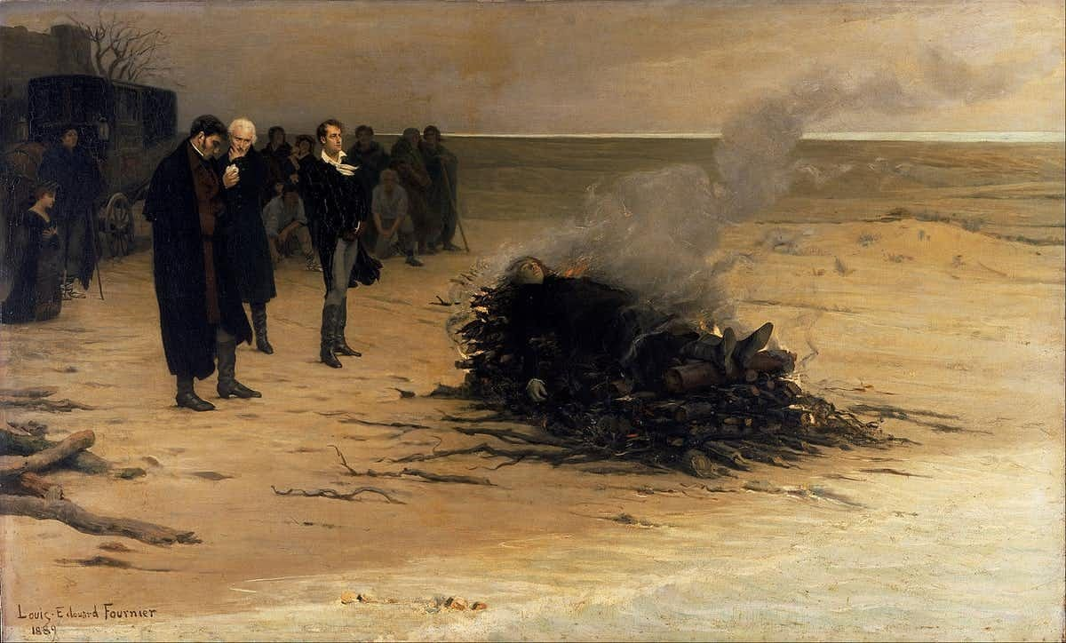 Mary Shelley (kneeling far left), Edward John Trelawny, Leigh Hunt and Lord Byron at the funeral of Percy Bysshe Shelley in 1882, painted by Louis Édouard Fournier c1889.