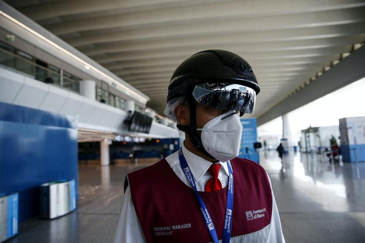 AR smart helmets in use in Italy during the COVID-19 pandemic.