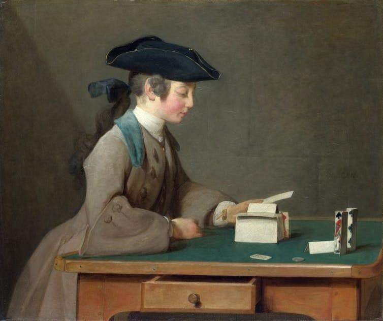 Painting by Jean-Baptiste-Siméon Chardin, The House of Cards, 1736-37.