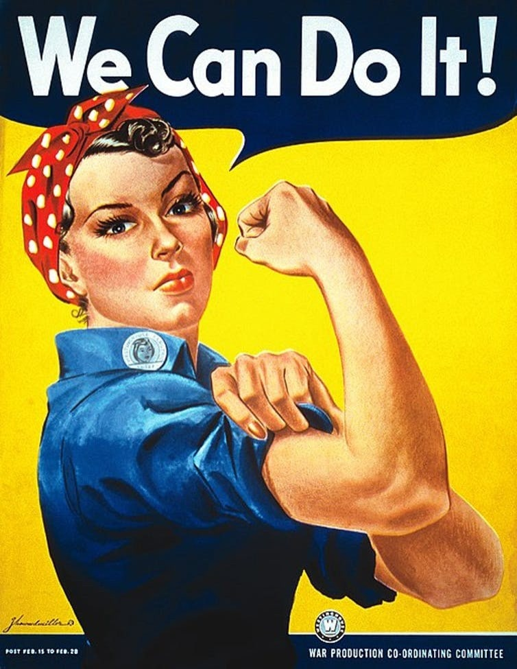 'We can do it!' poster featuring a woman in a bandana, flexing her arm.