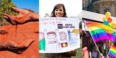 three images, a hand pouring red soil, a woman holding a support refugees sign, a rainbow flag waving