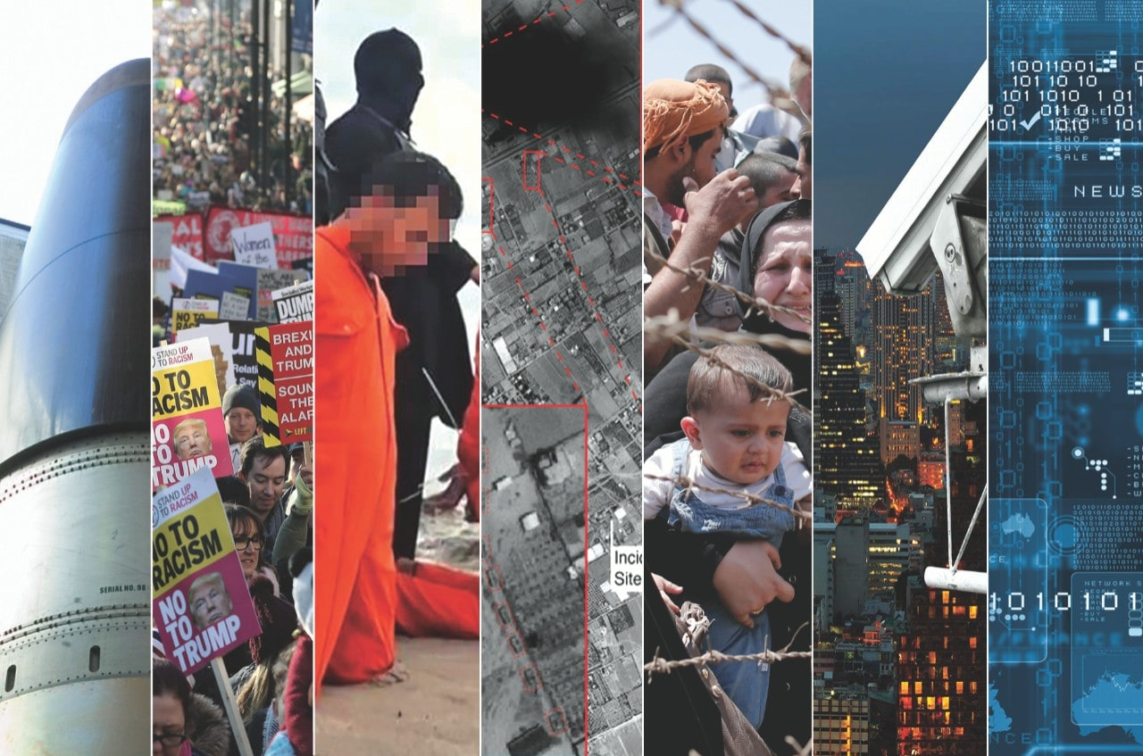 Collage of images, featuring prisoners, refugees, cities, crowds, protesters