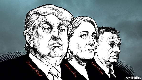 Cartoon of Donald Trump, Marion le Pen, Viktor Orban