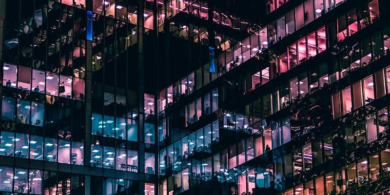 Office building with pink lights