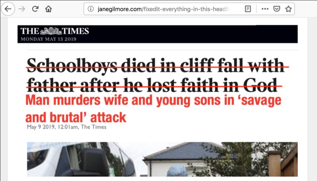 Screengrab of new headline corrected on FixedIt