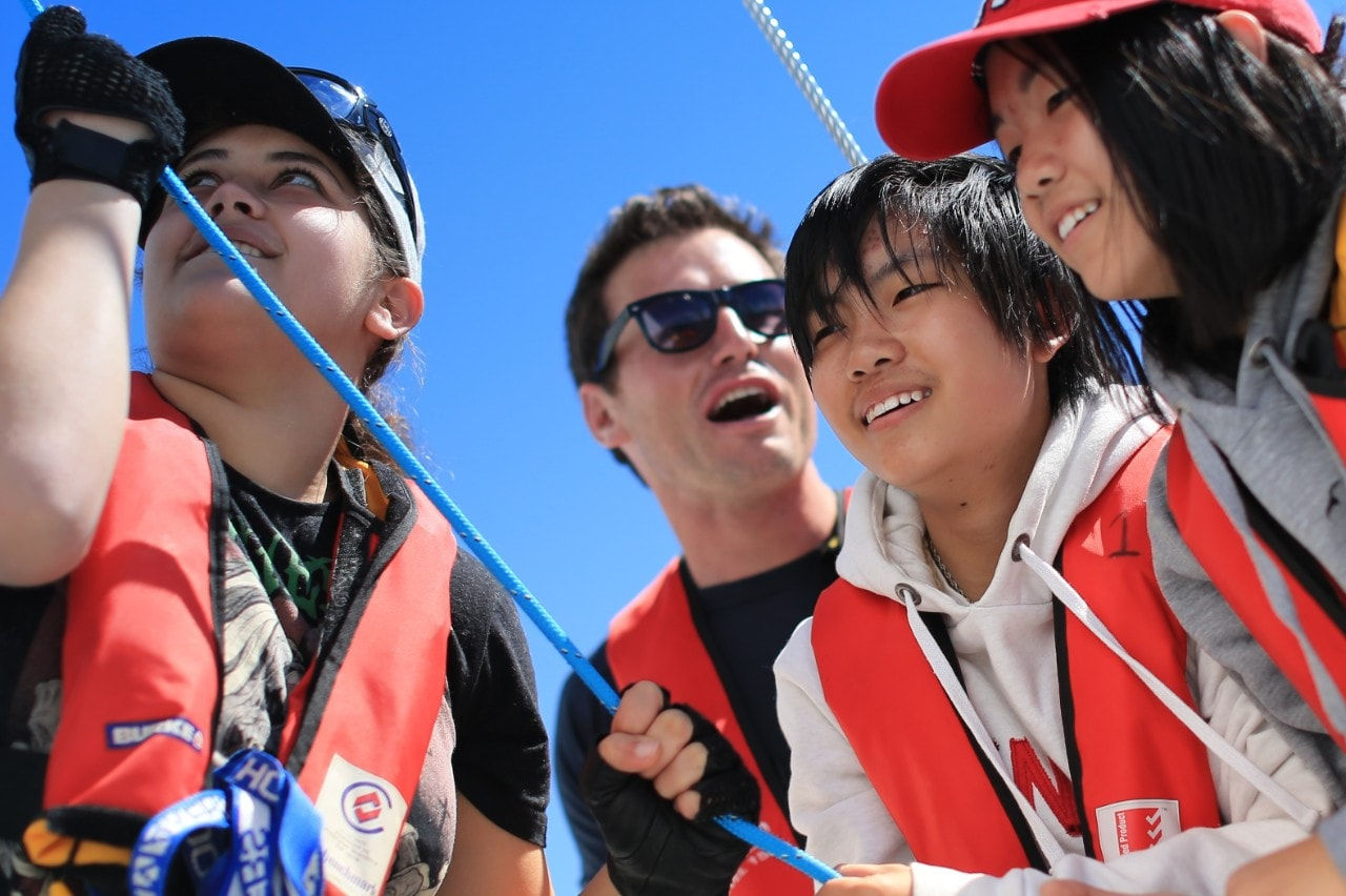 A group of students taking part in a Helmsman Project activity.