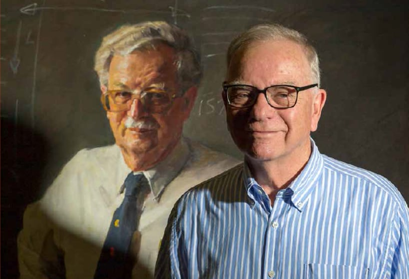 Don Heussler with the portrait of Rolf Prince