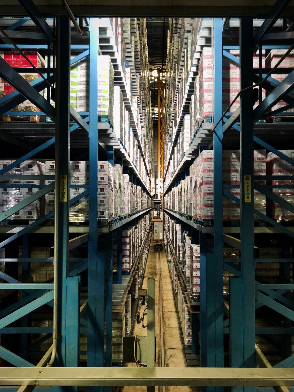 An automated warehouse with high shelving