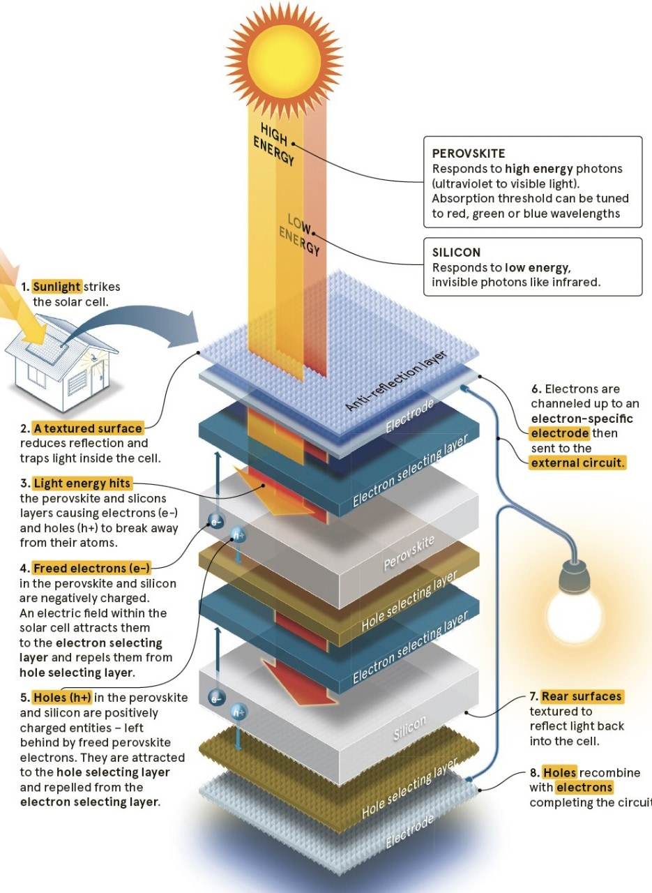 A graphic showing how a solar cell turns sunlight into electricity.