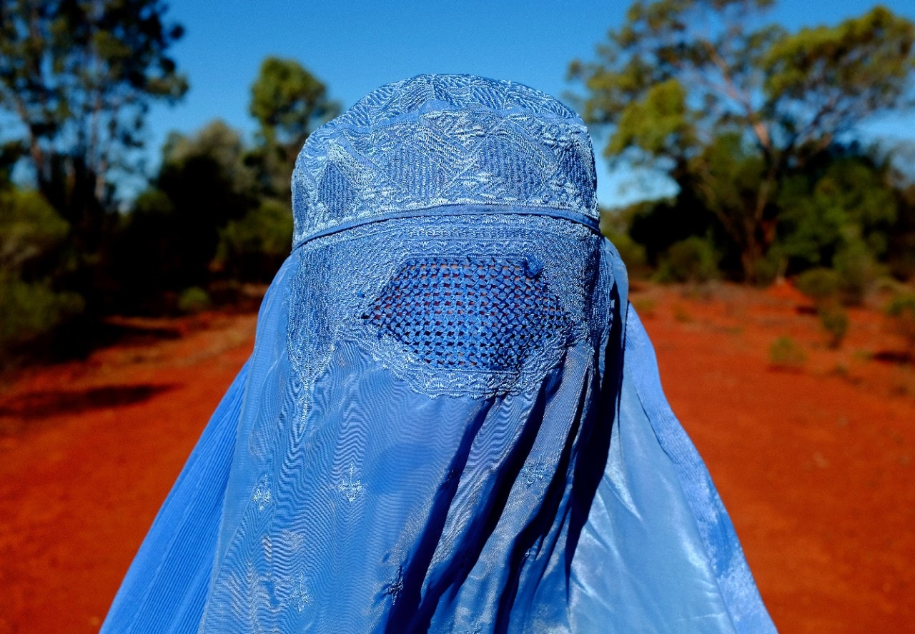 Blue Burqa in a sunburnt country