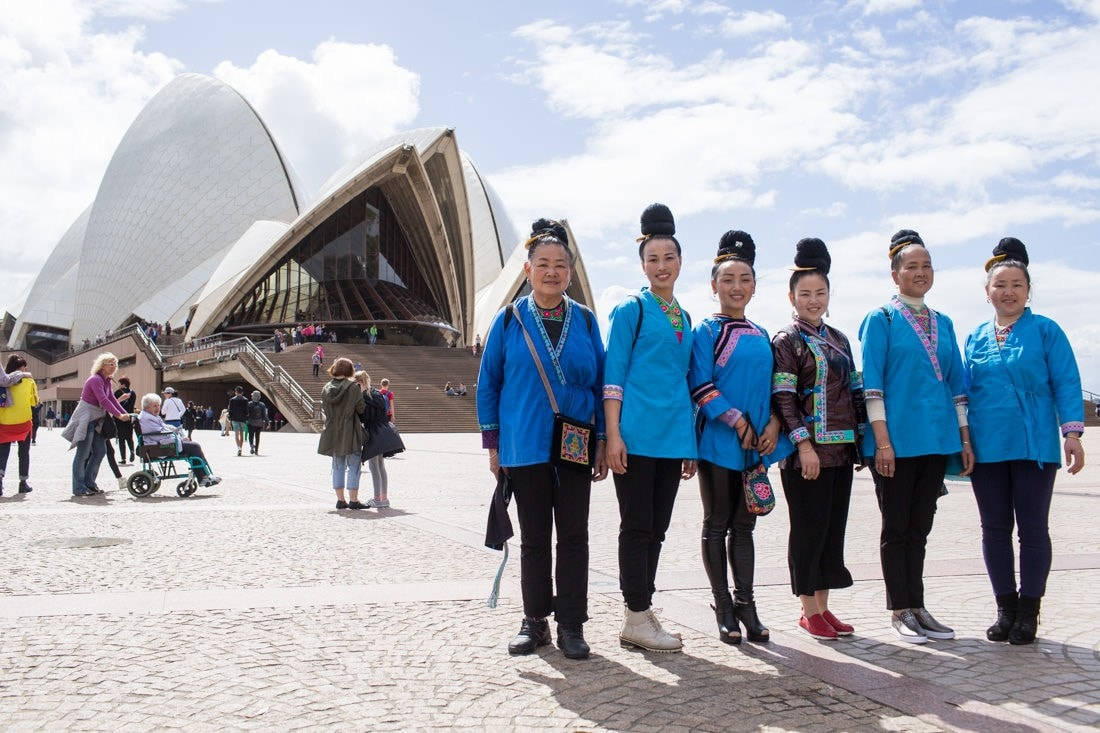 Kam women at the Opera House during their Sydney visit.