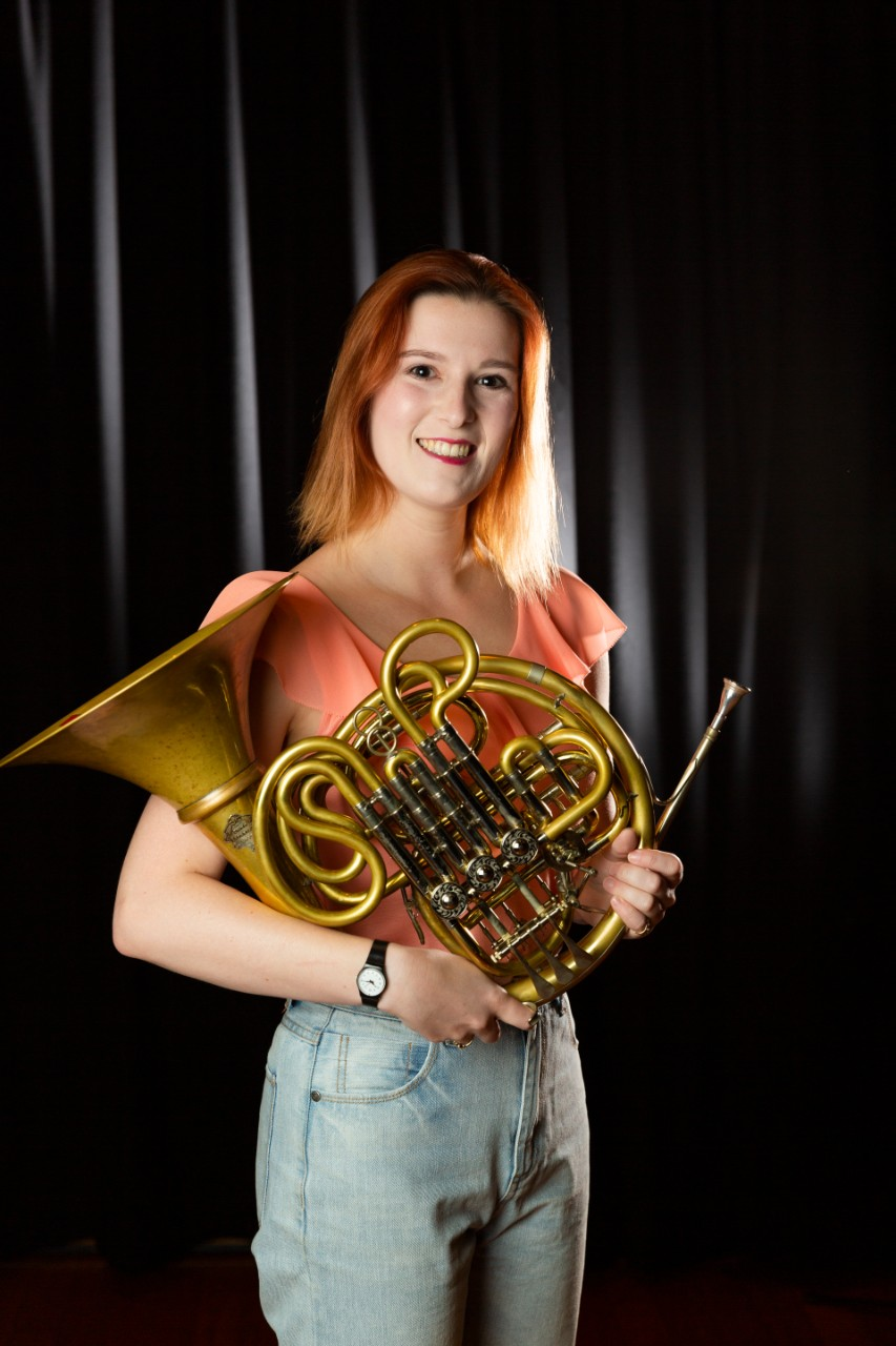 Student Gemma Lawton with French horn
