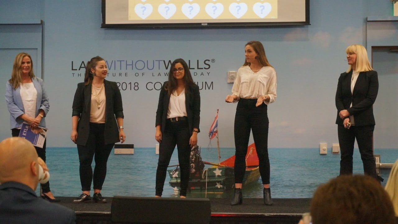 University of Sydney student Olivia Grivas presenting her idea KYLe alongside team-mates Rayana El Baba (UCL) and Helena Fagaburu (Ecole HEAD) and mentors Leah Cooper and Cate Campany.