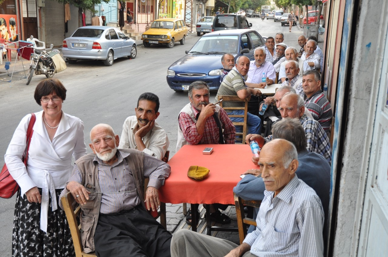 Professor Crock meeting the locals in Gaziantep, Turkey.