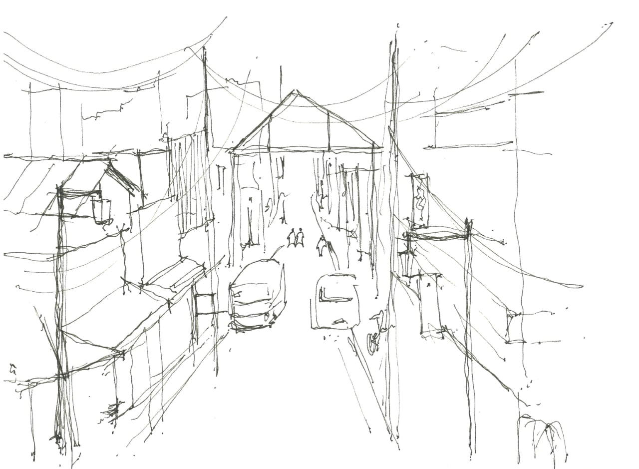 Sketch of the main Yanaka Ginza gate by Rachel Liang